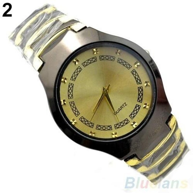 Mens Luxury Business Casual Stainless Steel Link Chain Wristwatch Quartz Round dial Watch (Gold) Malaysia
