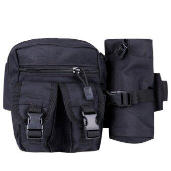 Men's Military Tactical Sport Fanny Pack Hiking Hunting BottleWaist Belt Bag-Black