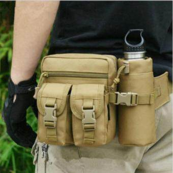 Men's Military Tactical Sport Fanny Pack Hiking Hunting BottleWaist Belt Bag-Khaki