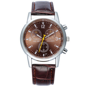 Mens Watches Fashion Business Quartz Watches Waterproof Wristwatch Leather Strap Watches - Coffee