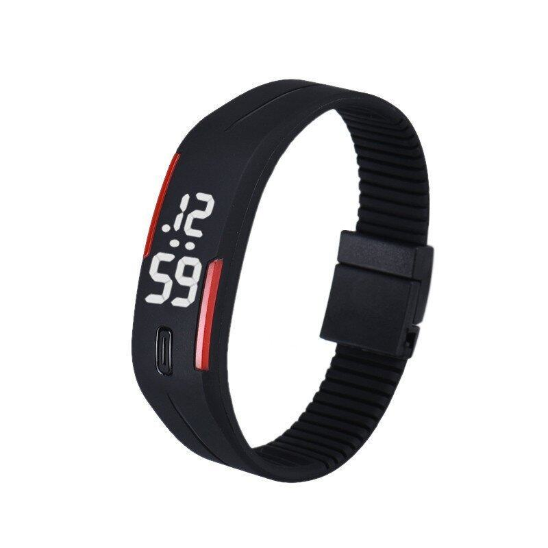 Mens Womens Rubber LED Watch Date Sports Bracelet Digital Wrist Watch Black&Red Malaysia