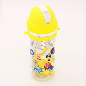 Mickey Mouse Minnie Mouse 500ml Yellow water bottle with Straw&Stripe