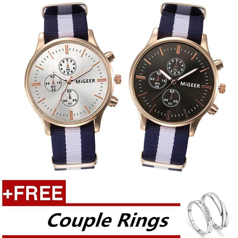 MIGEER Couple Lover Men and Womens Watches Nylon Braid Striped Quartz Watches + Free Adjustable Lovers Rings Malaysia