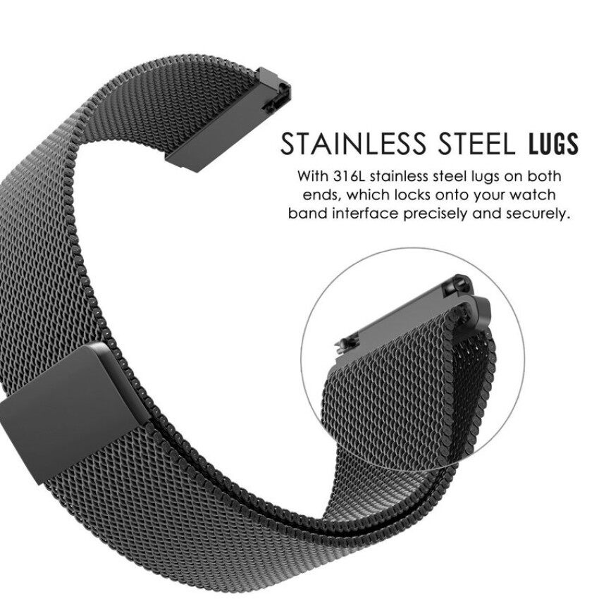 ... Milanese Magnetic Loop Replacement Stainless Steel Watch Band Strapfor Moto 360 2nd Gen (Width 22 ...
