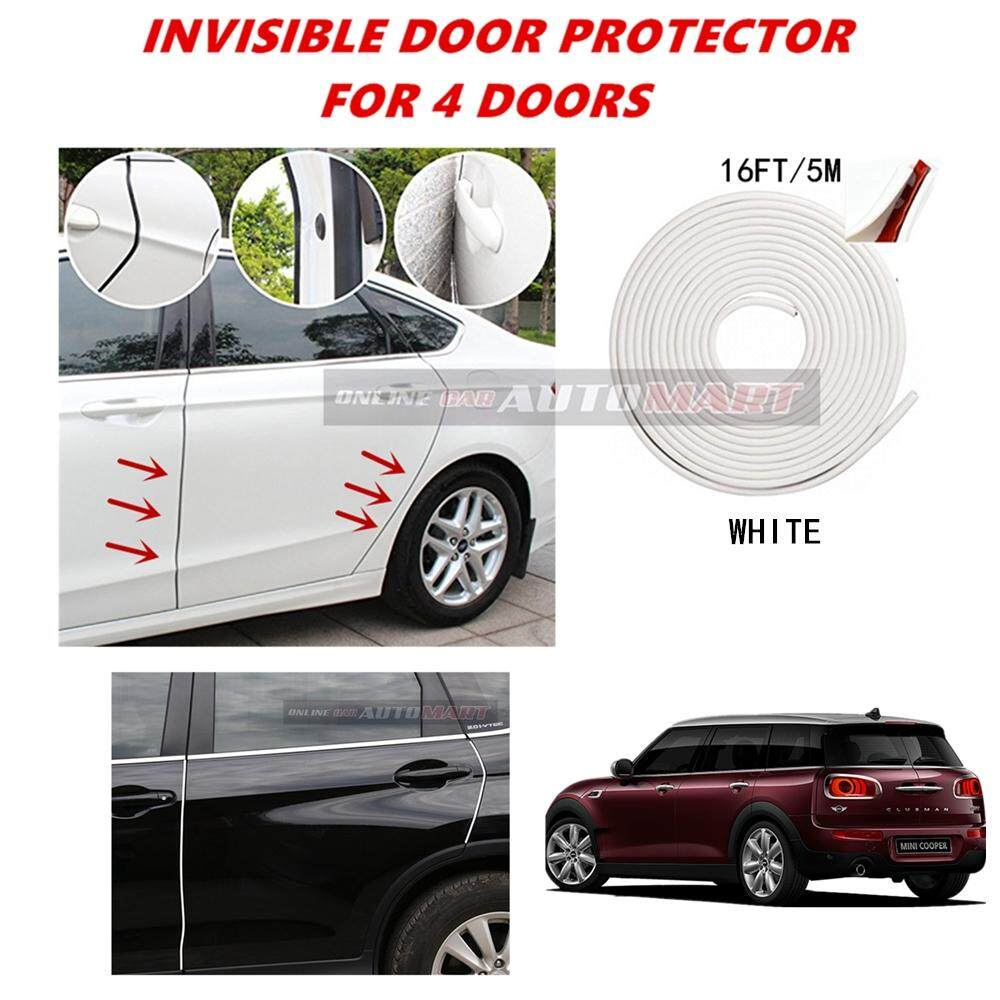 Mini Cooper Clubman - 16FT/5M (WHITE) Moulding Trim Rubber Strip Auto Door Scratch Protector Car Styling Invisible Decorative Tape (4 Doors)