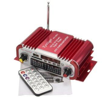 Harga Mini HiFi Car Home Power Amplifier FM Radio USB SD Audio MP3 Player w/ Remote (Red)