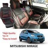 Broz Mitsubishi Mirage Red Lining Design Universal Car PU Seat Mat with Lumbar Support Per Piece