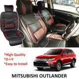 Broz Mitsubishi Outlander Red Lining Design Universal Car PU Seat Mat with Lumbar Support Per Piece