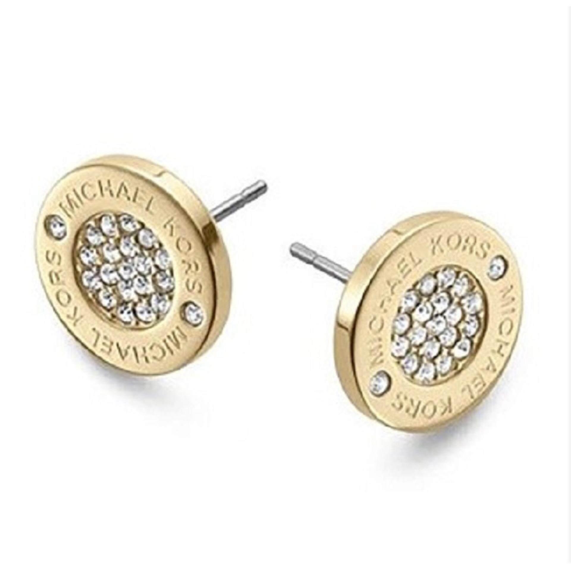 MK Gold Tone Stainless Steel Coated Stone Set Logo Stud Earrings