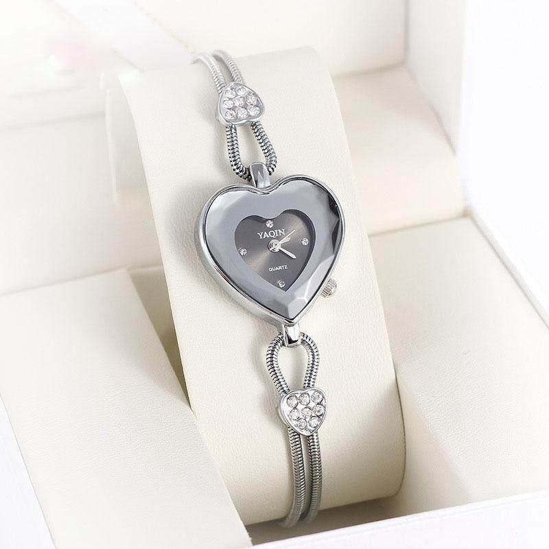 moob 2015 authentic Yaqin Ms. Yaqin fashion watch stainless steel heart-shaped diamond watch explosion of one generation (Silver) Malaysia