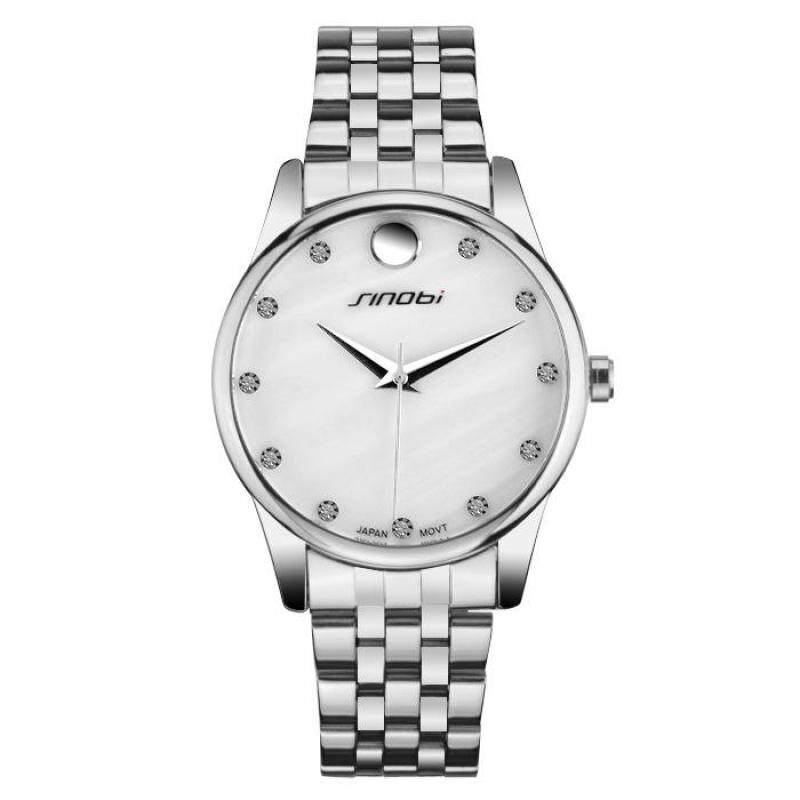 moob 2016 new stainless steel and exquisite high-end fashion lovers in the table SINOBI genuine quartz watch (SilverWhite) Malaysia