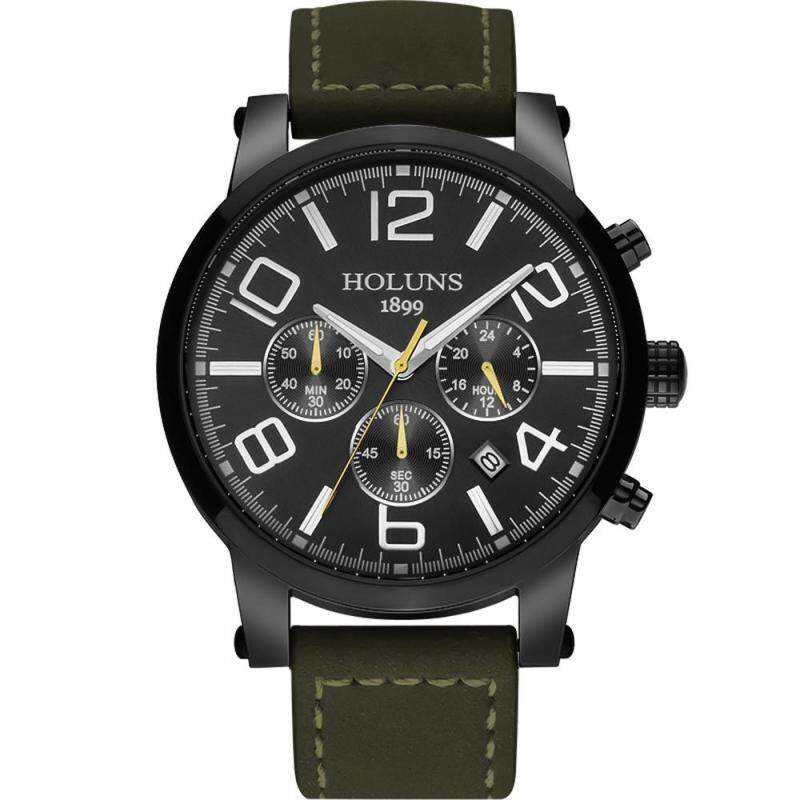 moob Genuine HOLUNS male watch fashion multifunctional luminous waterproof mens casual quartz watch male table (black) Malaysia