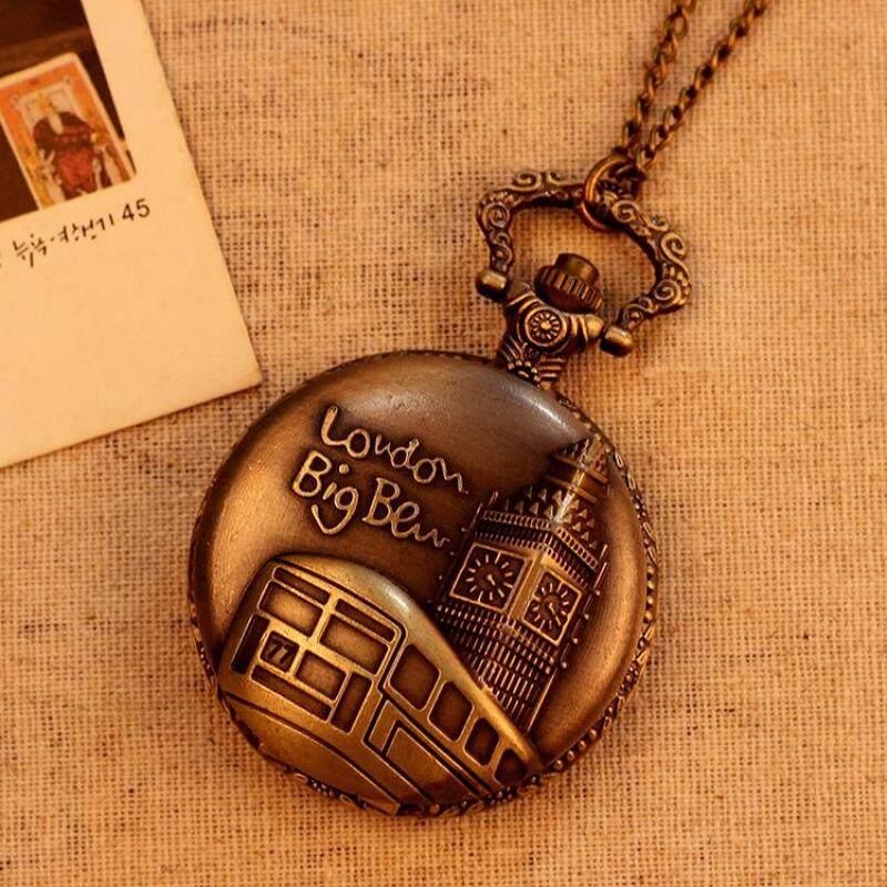 moob Hot Sale Bronze Vintage Pocket Watch Women Men Necklace Quartz With Long Chain Pendant Wholesale (BrownGold) Malaysia