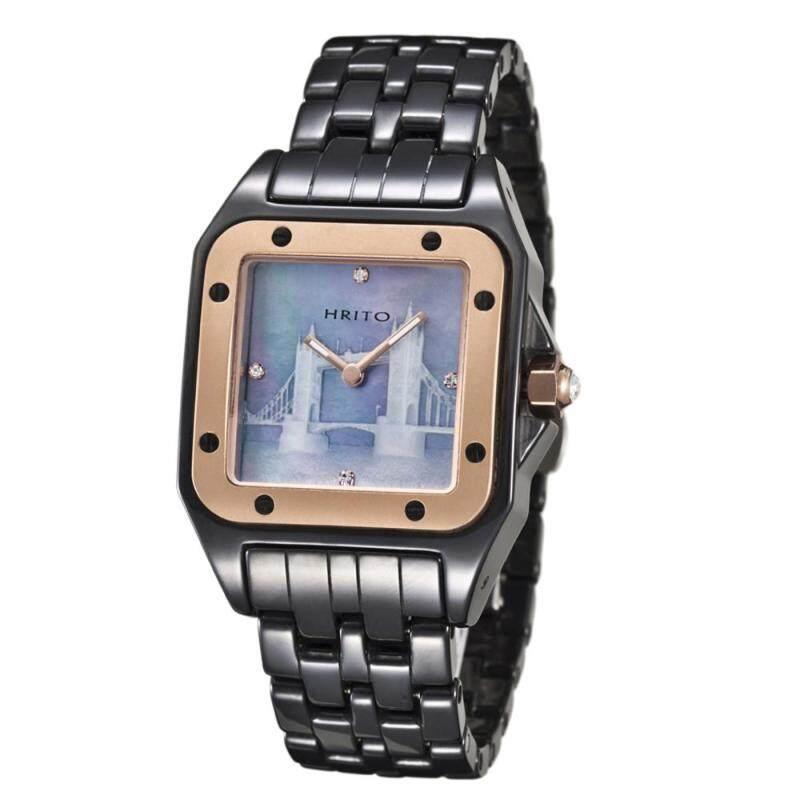moob HRITO genuine high-end ceramic quartz watches sapphire unisex black (rose gold) Malaysia