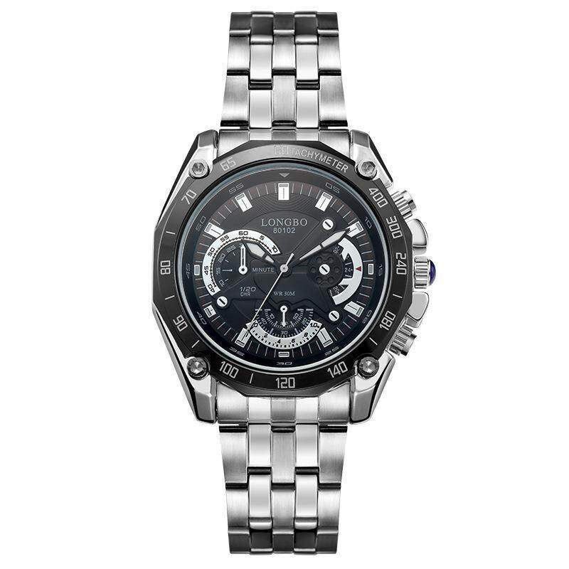 moob LOGNBO ailang six eye three needle steel band leisure fashion waterproof quartz mens watch manufacturers wholesale 80102 (Black) Malaysia