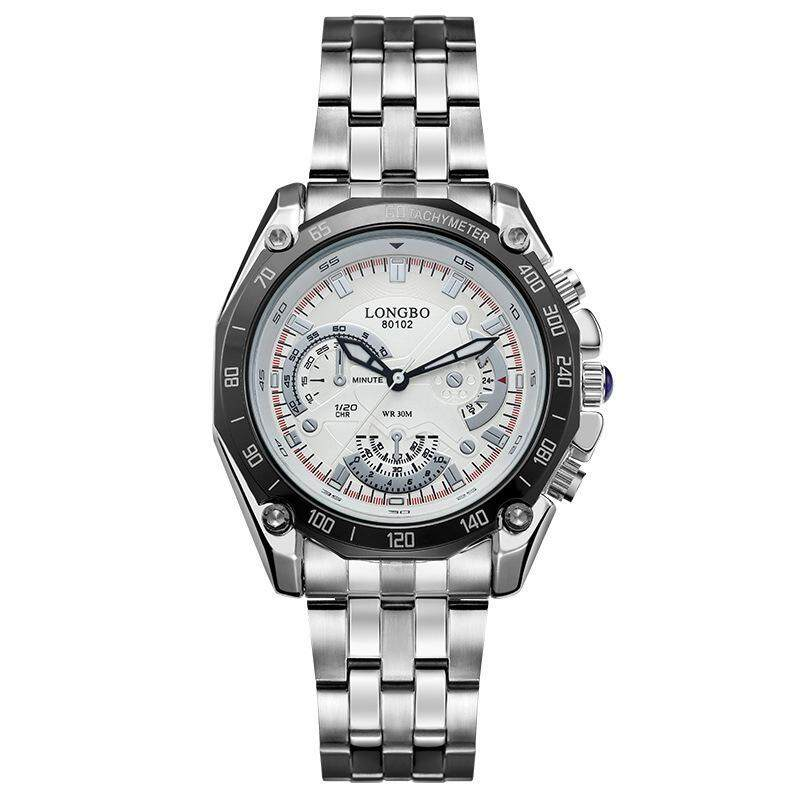 moob LOGNBO ailang six eye three needle steel band leisure fashion waterproof quartz mens watch manufacturers wholesale 80102 (White) Malaysia