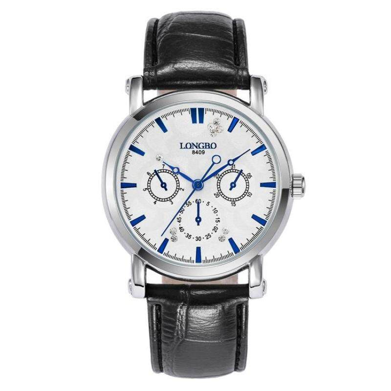 moob Long Bo authentic high-end multi-functional waterproof mens watch lovers new promotional quartz leather watch men (White) Malaysia