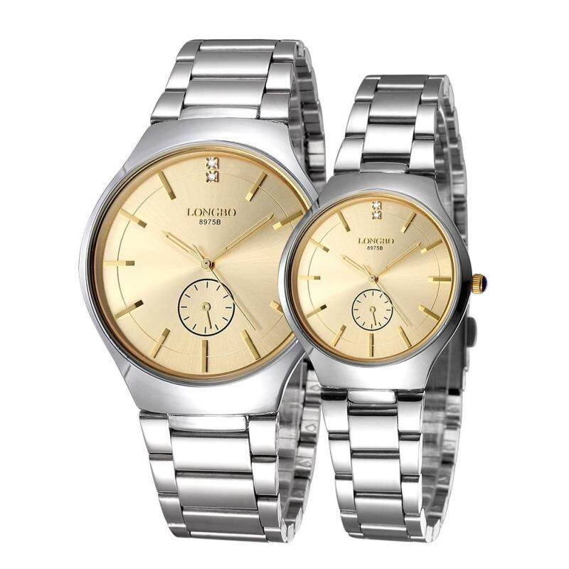moob LONGBO imported from Japan movement fashion simple dial stainless steel strap couple watches (Gold) Malaysia