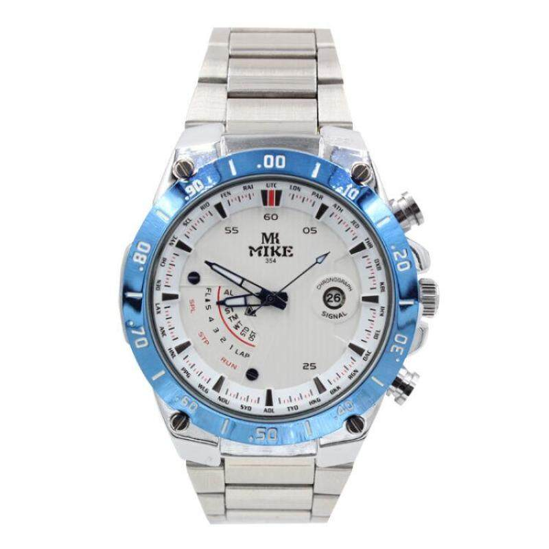 moob Meters (Mike) watches genuine cool Mens watch fashion waterproof strip Mens Watch classic dials 354 flour blue edge strip (White) Malaysia