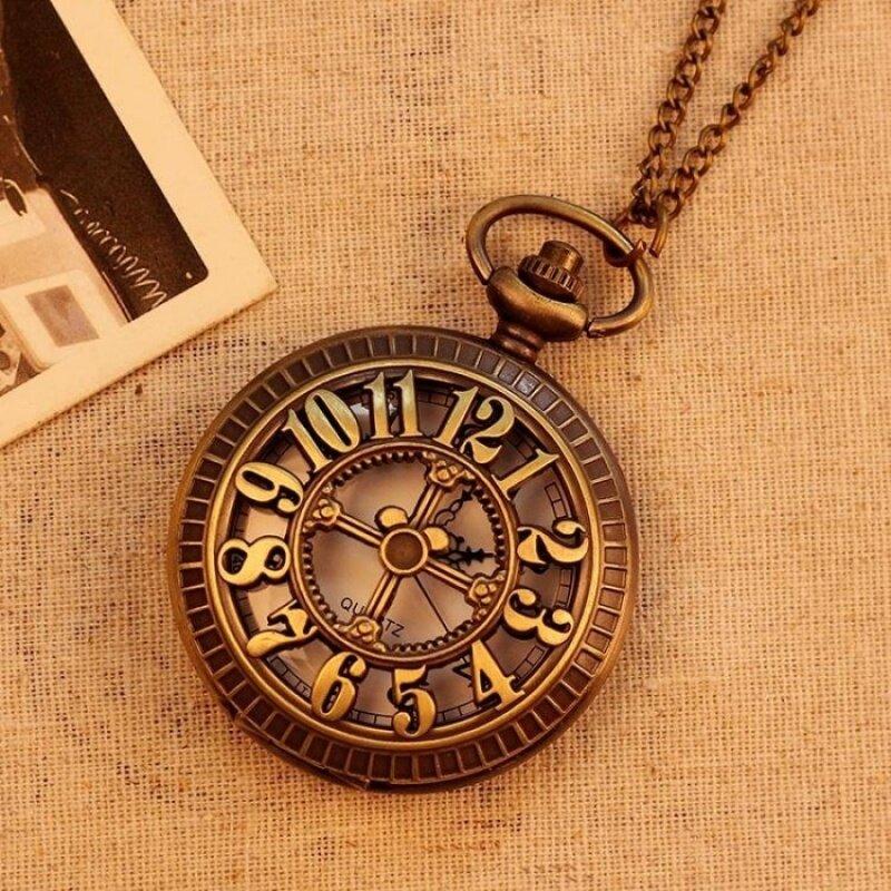 moob New Bronze Vintage Pocket Watch Men Women Unisex NecklaceQuartz With Long Chain Hollow Big Numbers Best Gift (bronze) Malaysia