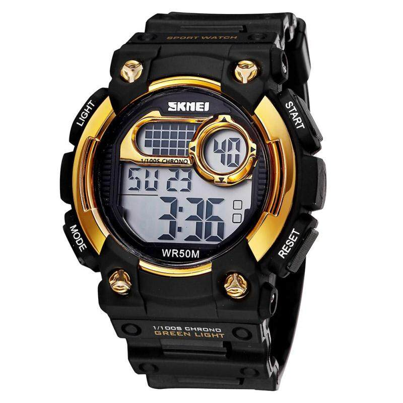 moob SKMEI authentic fashion students watch electronic watches wholesale multicolor tide (Gold) Malaysia