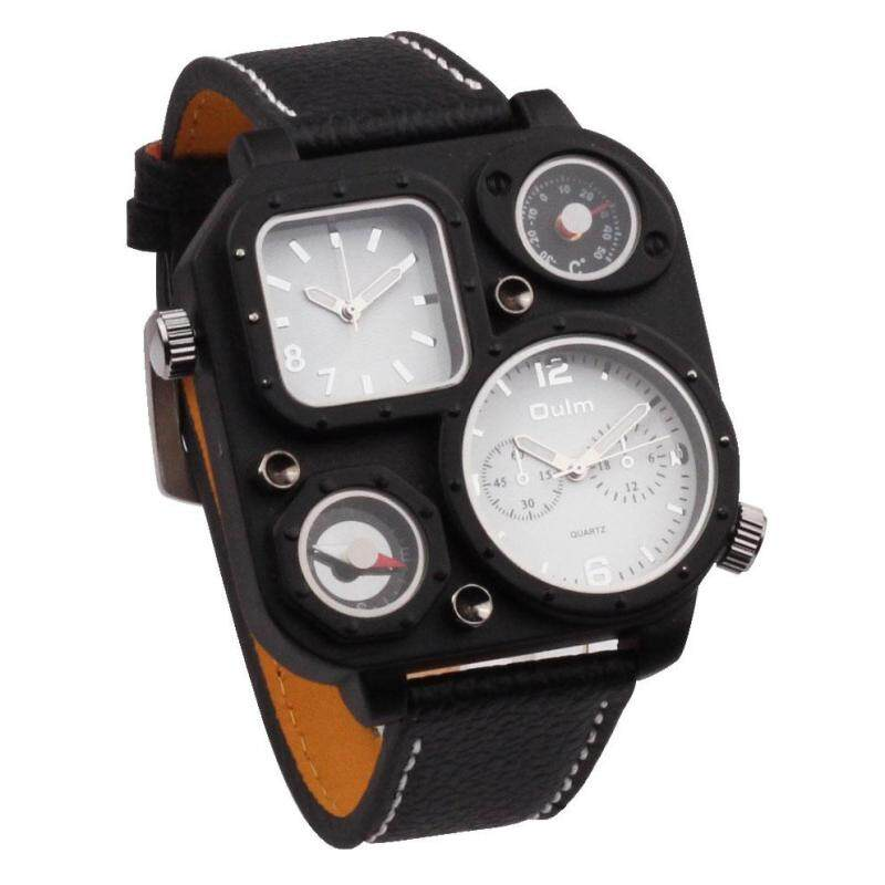 moob Table oulm Europe radium mens fashion fashion watches / compass / two / 1169 Leather Watchband thermometer (BlackWhite) Malaysia