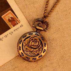 moob Vintage Retro Rose Pattern Women Pocket Watch Bronze Necklace Quartz Alloy Pendant With Long Chain (Bronze) Malaysia