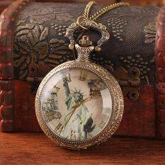 moob Watch pocket bronze pattern glass surface statue of liberty UP picture pendant best gift for women wholesale hot sale free ship (Bronze) Malaysia