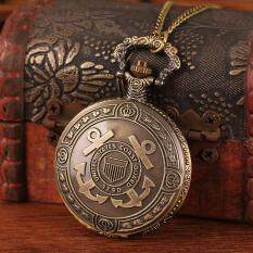 moob Wholesale free shipping hot sale bronze retro carved cross pirates anchor for women pendant chain watch fob necklaces (Bronze) Malaysia