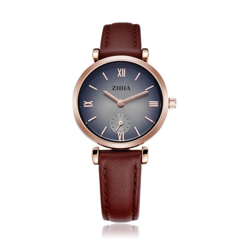 moob ZHHA New Fashion Women Man Lovers Wristwatch Leather strap Analog Quartz Casual Watch ZWS001 Masculino Feminino Relogio (BrownBlack) Malaysia