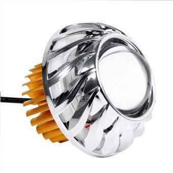 Harga Motorcycle Headlight LED Projector Lens Dual Halo Angel Devil EyeSpot Light(White)