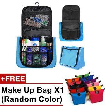 Multifunction Travel Hanging Wash Bag Toiletry Bag Blue FREE make up bag