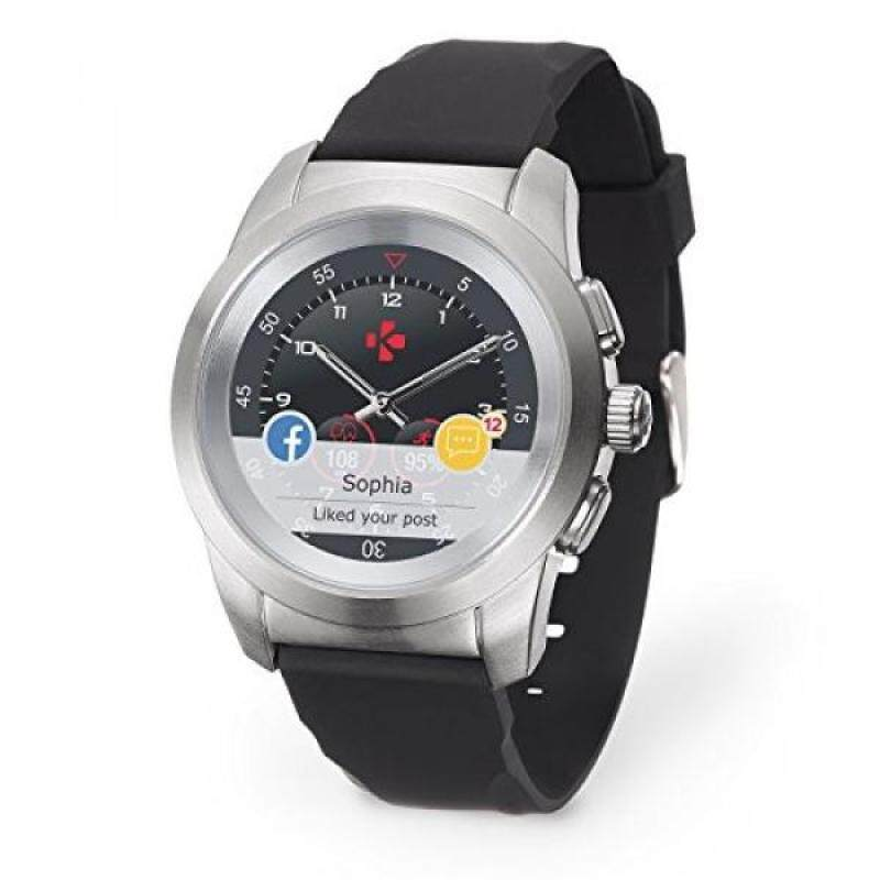 MyKronoz ZeTime Original Hybrid Smartwatch with mechanical hands over a color touch screen – Regular Brushed Silver / Black Silicon Flat Malaysia