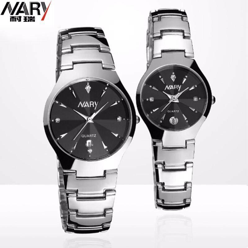 NARY Couple Watch Ladies Male Watch Tungsten Steel Business Men Quartz Calendar Watch - Black Malaysia