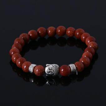 Harga Natural Stone Bead Buddha Bracelets for Women and Men,SilverBuddha, Turquoise,Black Lava Bracelet