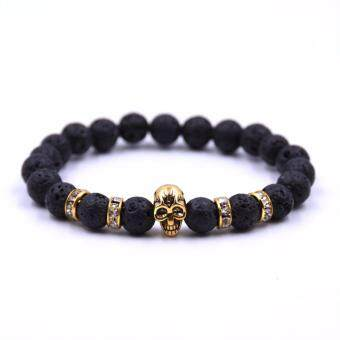 Harga Natural Stones Bracelet Skull Bracelet For Women and Men Lava StoneBeads Bracelets Fashion jewelry pulseira
