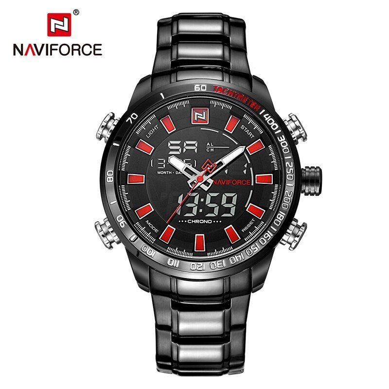 NAVIFORCE Luxury Brand Men Military Sport Watches Mens Digital Quartz Clock Full Steel Waterproof Wrist Watch relogio masculino NF9093BBW Malaysia