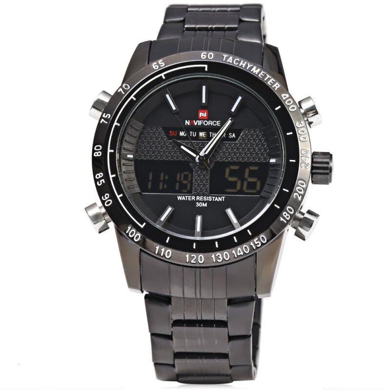 NAVIFORCE NF9024 Luxury Dual Movt Men Quartz Watch Analog Digital LED Sport Wristwatch(White and black) Malaysia