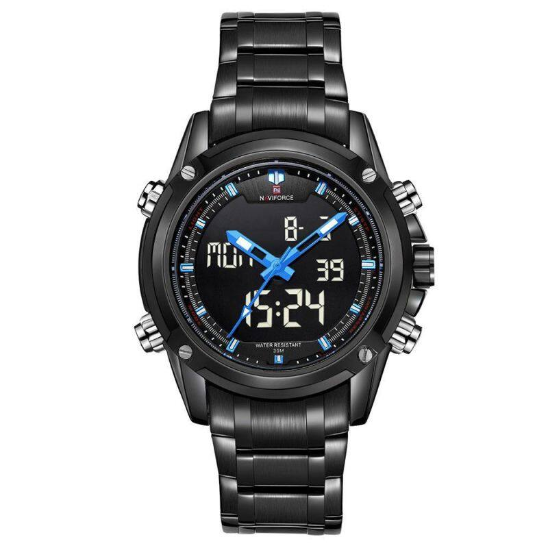 NAVIFORCE NF9050 Dual Movt Men Quarz Watch Analog Digital LED BLACK BLUE Malaysia