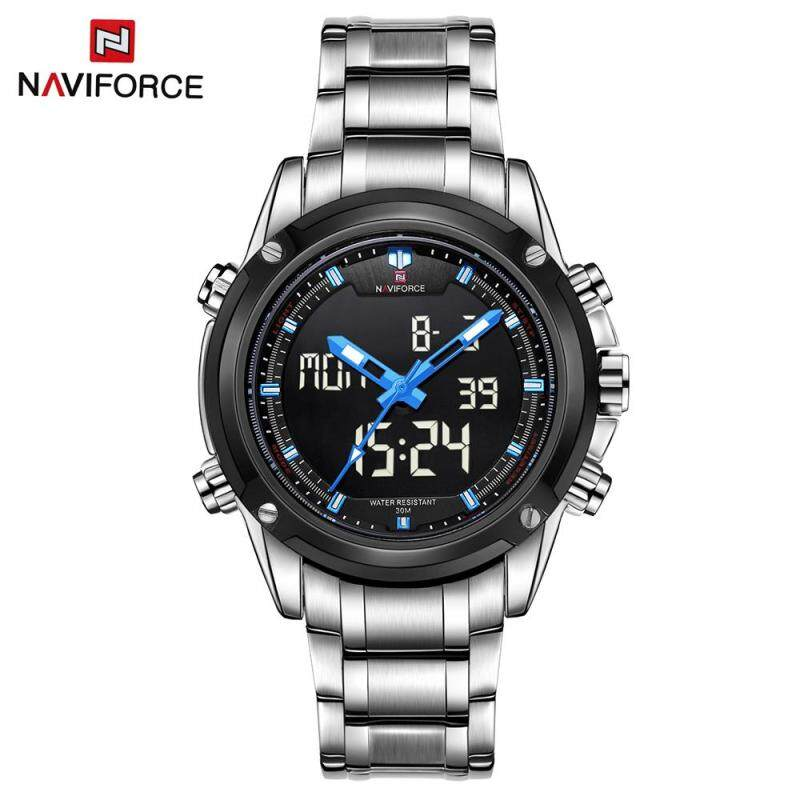 NAVIFORCE NF9050 Dual Movt Men Quarz Watch Analog Digital LED Wristwatch Calendar Watches Stainless Steel Strap Malaysia