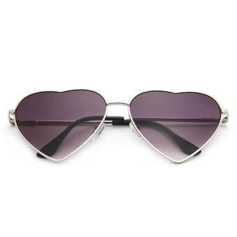 Neutral Fancy Classic Metal Men   Women Sunglasses Heart Shape Sunglasses -  Silver Frame Double Gray d8e46197e2