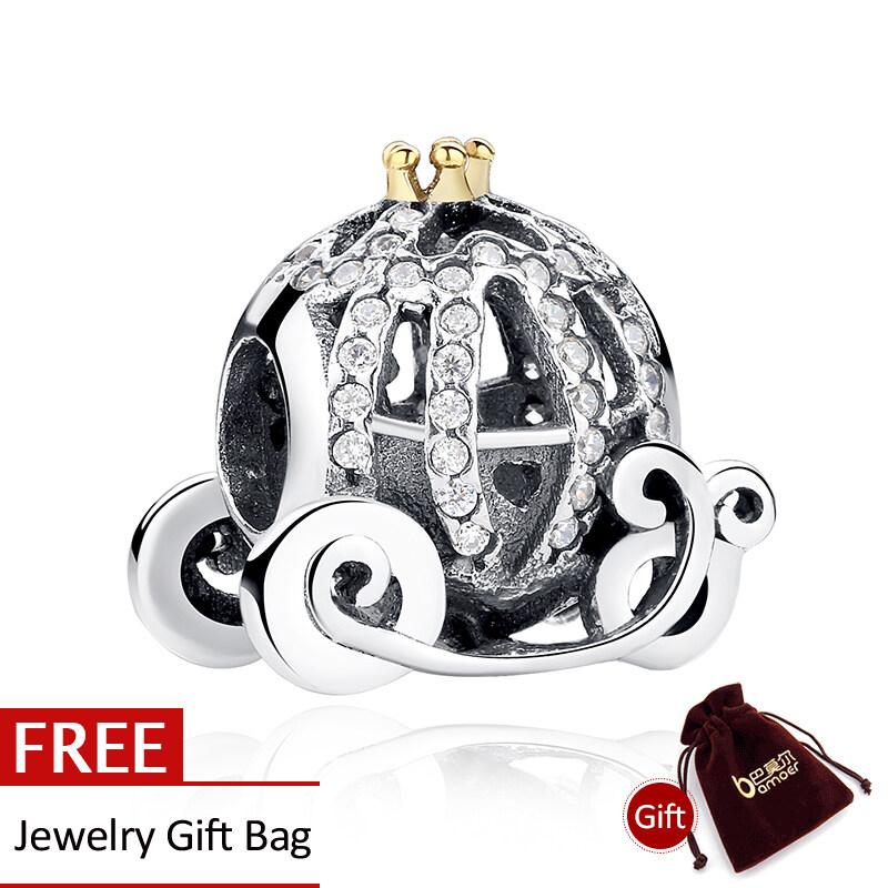 Toko Baru 100 925 Sterling Silver Openwork Pumpkin Charm Fit Gelang Dengan 14 K Emas Crown Perhiasan Membuat Pas027 Online Terpercaya
