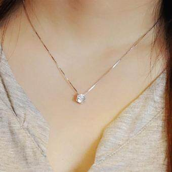 Harga New 925 Sterling Silver Clavicle chain Zircon Pendant Necklace Fashion women (Size: One Size