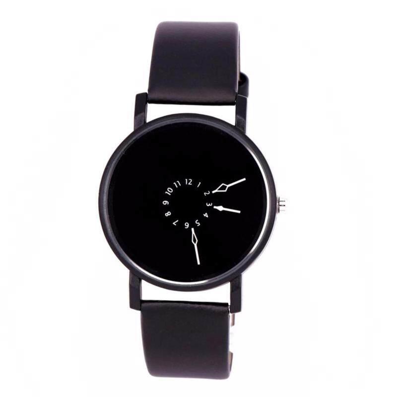 New Men Women Boy Girl Lover Synthetic Leather Analog Quartz Couple Wrist Watch (Black) Malaysia