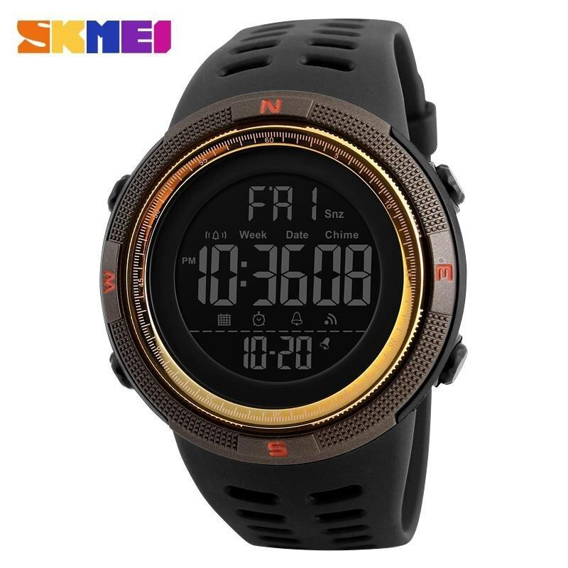 New SKMEI 1251 Men Sports Watches 50M Waterproof Watches Countdown Double Time Watch Alarm Chrono Digital Wristwatches - Black Brown Gold Malaysia