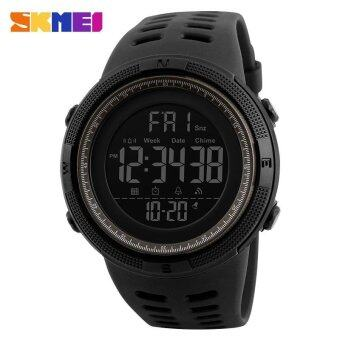 Harga New SKMEI 1251 Men Sports Watches 50M Waterproof Watches Countdown Double Time Watch Alarm Chrono Digital Wristwatches - Black Gray