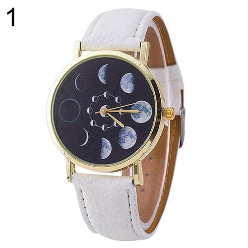 New Unisex Moon Phase Astronomy Space Watch Faux Leather Band Quartz Wrist Watch (Black) Malaysia
