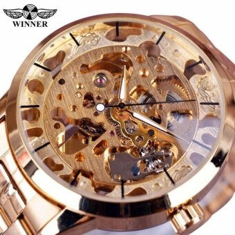 Harga New Winner Gold Watch Mens Watches Top Brand Luxury Full Steel ManClock Skeleton Mechanical Watch