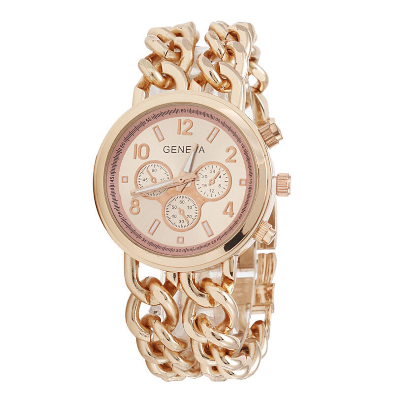 New Womens Cowboy Chain Stainless Steel Watch Band Quartz Wristwatch Rose Gold Malaysia