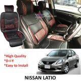 Broz Nissan Latio Red Lining Design Universal Car PU Seat Mat with Lumbar Support Per Piece